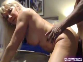older blonde cougar bonks with a large dark chap