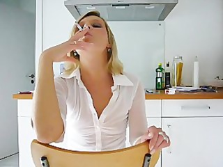 janis smoking hot in kitchen