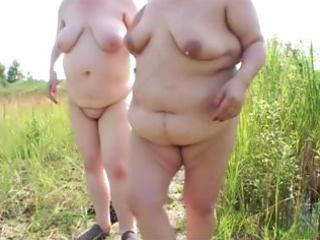 two corpulent mature lesbian babes