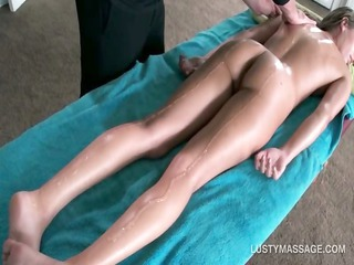hot chick gets in nature body massaged with oil
