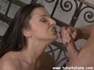 busty brunette hair italian wife cheats and