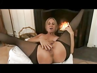 older mommy stockings &; hard hot nipples