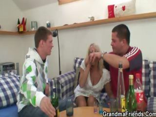 partying lads lure granny into threesome