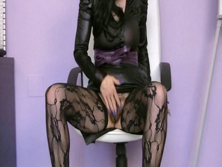 older slender skank in dark nylons masturbates on