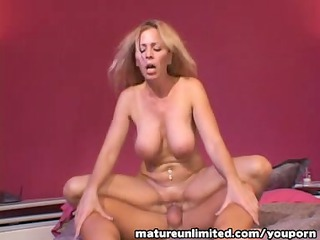 blond mature rides the penis intil.....