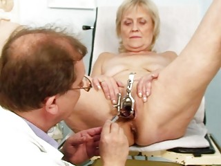 bawdy blond granny acquires her muff gaped at