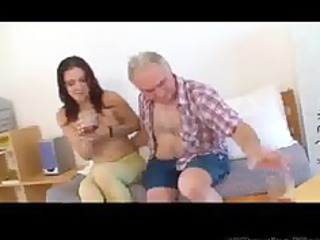 petite tittted babe receives fucked by old man