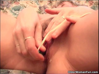 busty granny finger copulates her old fur pie and