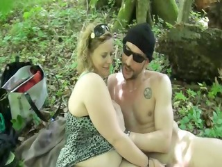 brutal sex for a corpulent milf in the woods