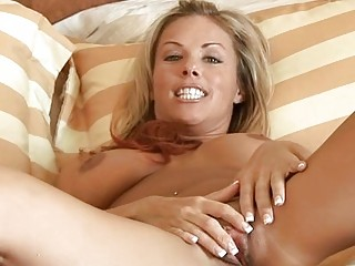 golden-haired d like to fuck massages her biggest