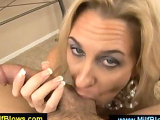 sexually excited golden-haired milf blowing out a