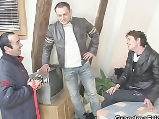 nasty granny gets lured into three-some
