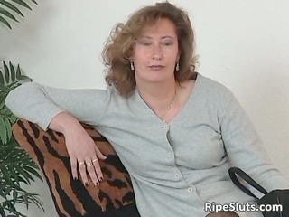 older whore in stockings use large sex-toy