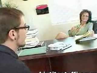 aged mom bonks computer repairman in her office