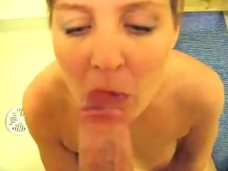 cute mother i receives spunk on face post blowing