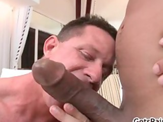 mature muscle guy sucking darksome pecker part5