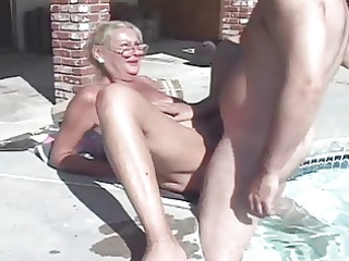 blond mature enjoys trio