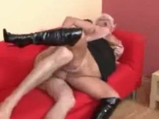 blonde euro granny in highheeled boots