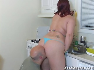 husband licks her wife`s large chunky ass as his