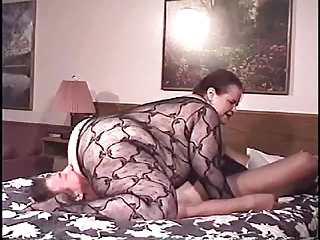 big beautiful woman aged fishnet facesitting