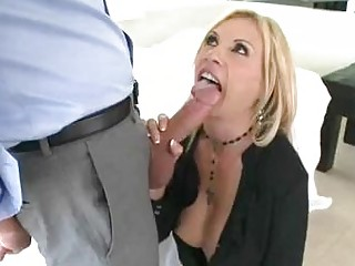 enormous chested blond momma sticks massive dong