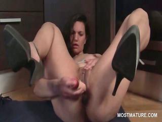 hawt aged on high heels masturbating cunt with