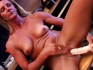 sexy older blond in a tool thong