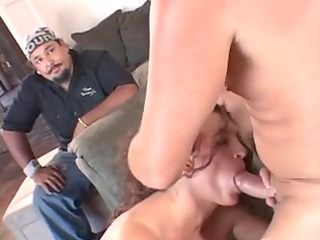 older married floozy gives lad a blow job in