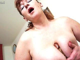 nasty chunky grandma playing with her toy