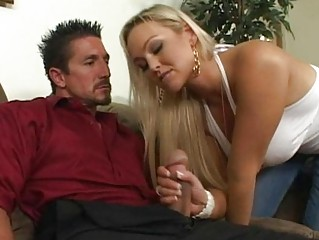 lovely breasty blond wife engulfing cock for