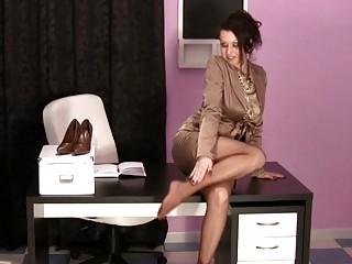 hawt milfs in the office wearing satin