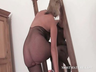 hawt milf in hose riding dildo