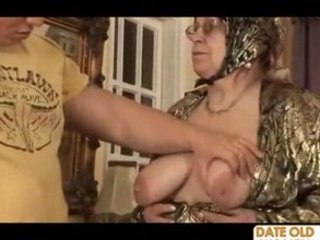 very old granny receives drilled by punk