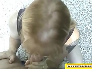 older blond sucking ramrod for a car repair