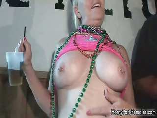 lewd older blonde woman sharing her part7