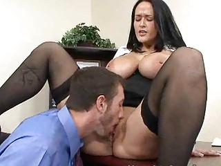 mature busty brunette hair copulates businessman