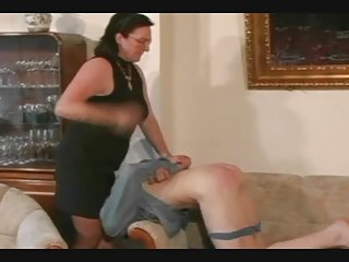 granny straps and spanks the guy pt1
