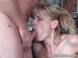 cute golden-haired mother i sucks and rides penis