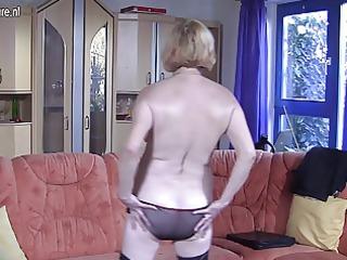 german granny masturbating on the couch