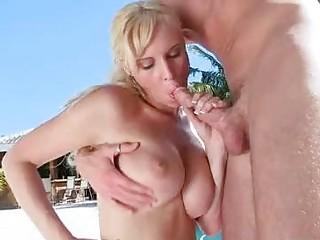 blond momma brittania lane hooks her throat on a