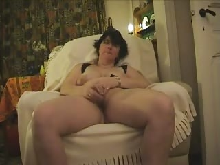 older monica masturbates with glass dildo and cums