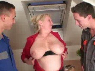 repairmen bang breasty grandma from one as well