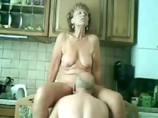 older fucked in kitchen