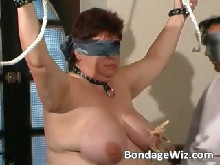 tied up chubby aged slut enjoying part1