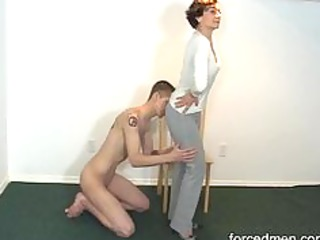 naked serf licks mastix legs for worship