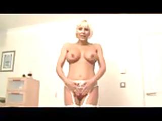 granny bimbo with lingerie gives hj pov