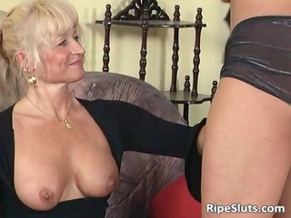 ultra blond mature chick loves younger