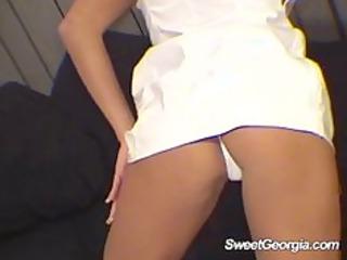 lovely georgia white vinyl doing a hot striptease