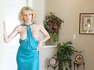 housewife in blue dress acquires it is from behind