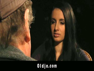 old john blind date with young brunette hair